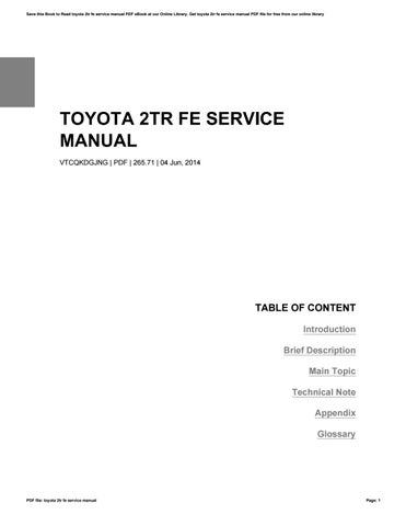 toyota 2tr fe engine repair manual