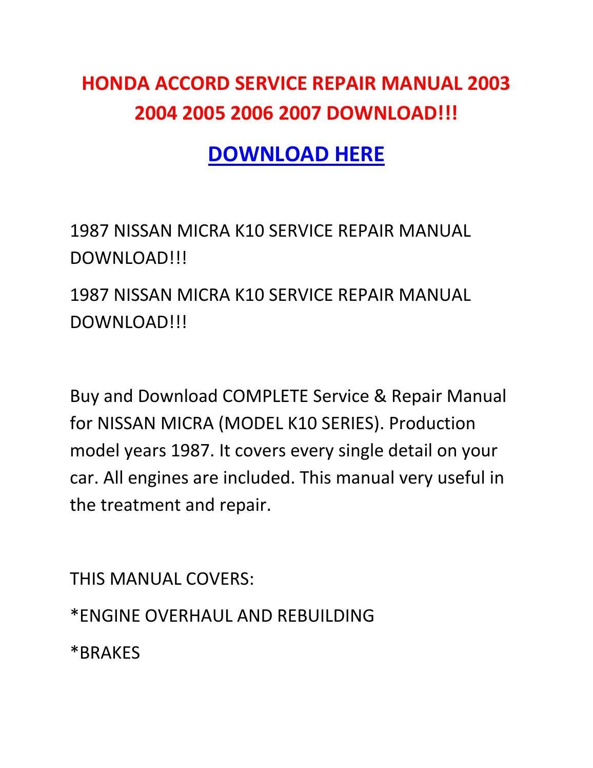 2004 honda accord repair manual