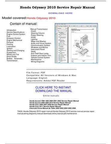 2001 honda odyssey repair manual pdf