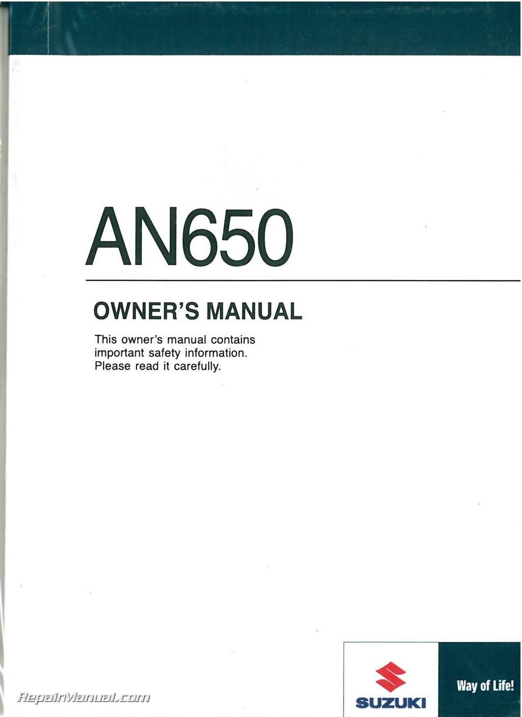 2009 suzuki burgman 650 executive owners manual
