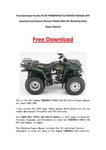 yamaha atv service manual free download