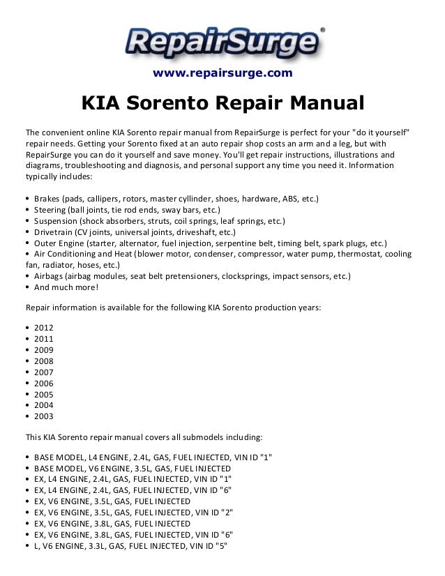 kia sorento 2005 repair manual