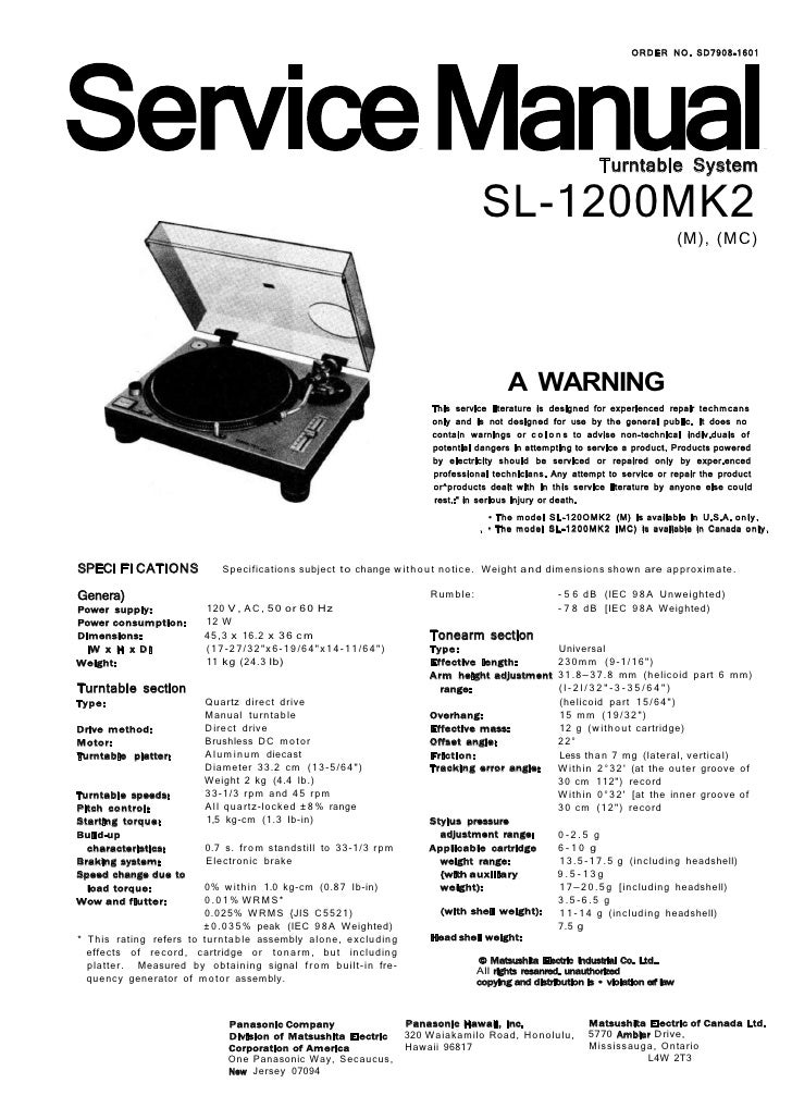 technics sl 1200 service manual