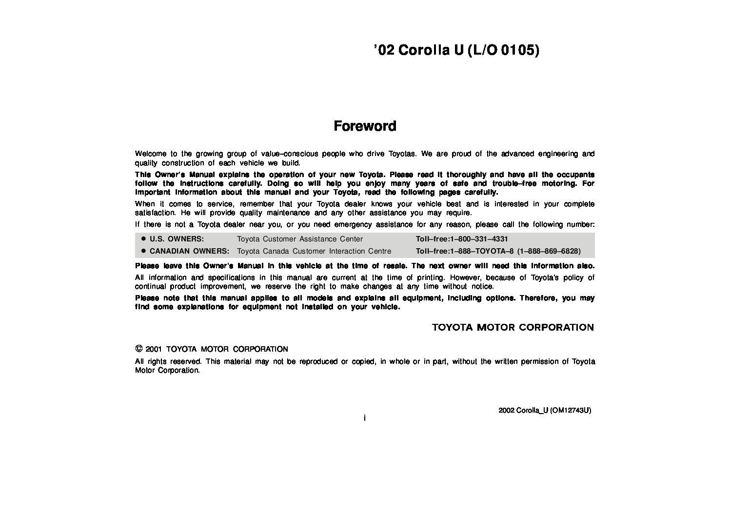 toyota corolla owners manual pdf