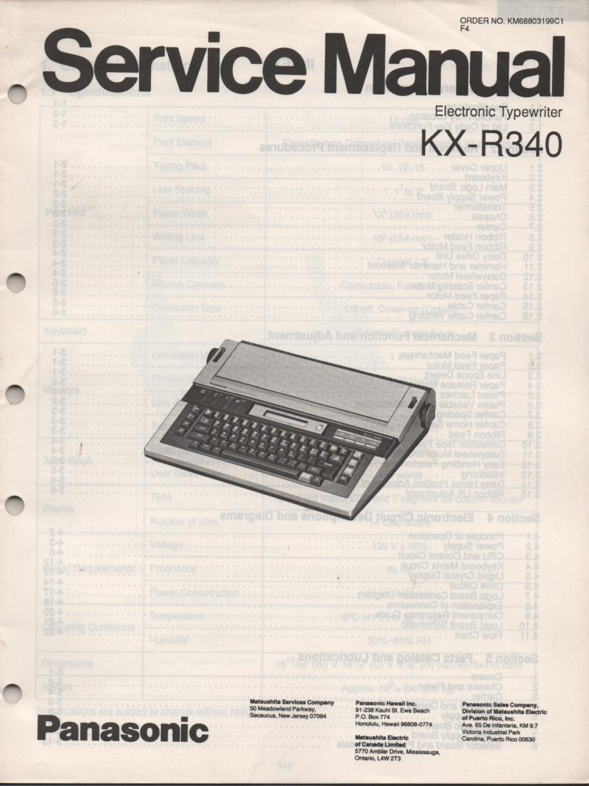 panasonic electronic typewriter r320 manual