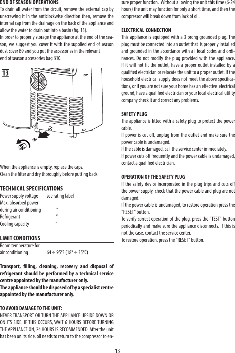 delonghi pac cn86 user manual