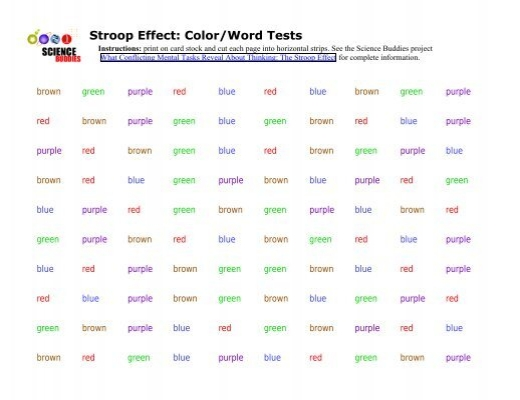 stroop color word test manual