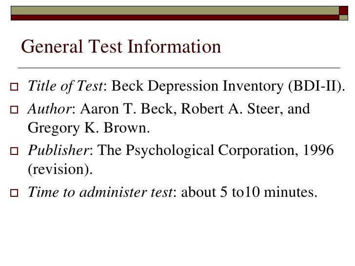 bdi ii beck depression inventory manual