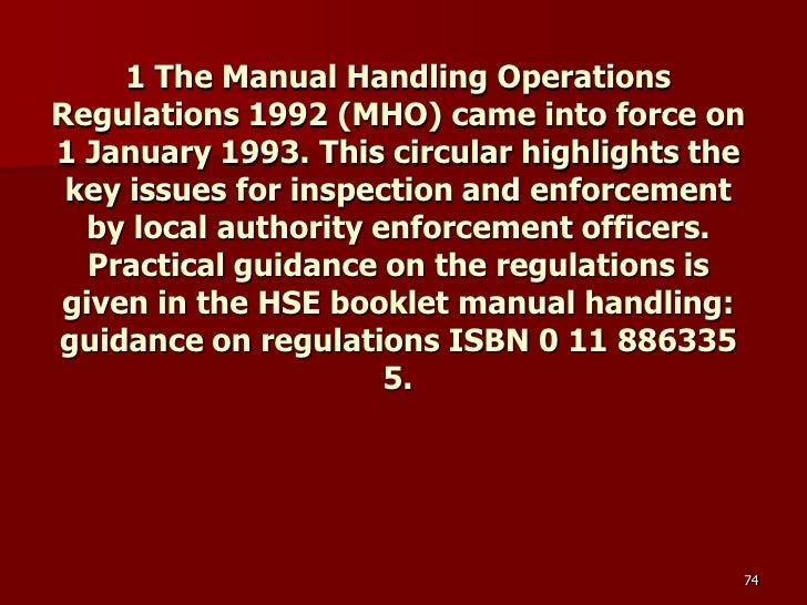 the manual handling operations regulations 1992