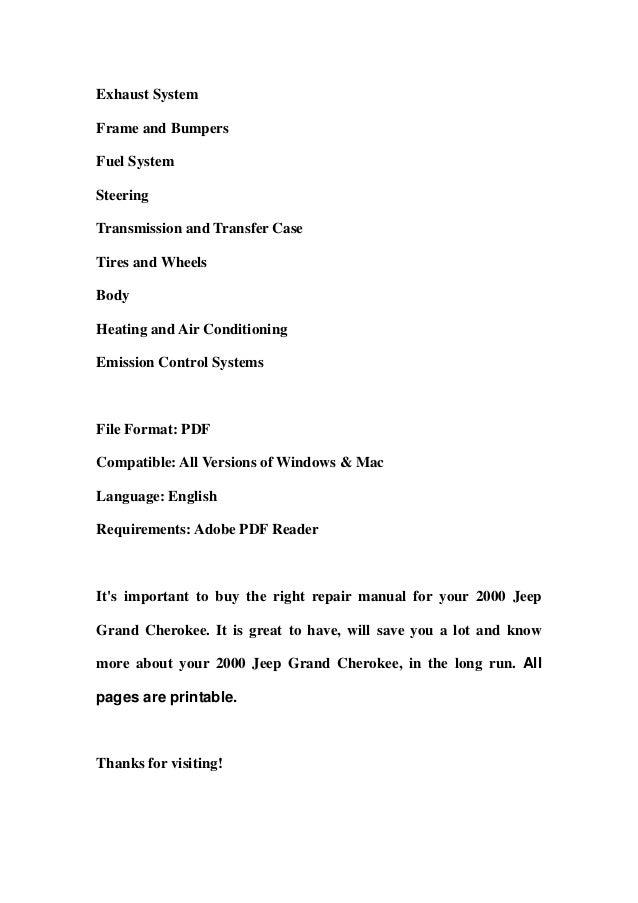 2000 jeep grand cherokee service manual pdf