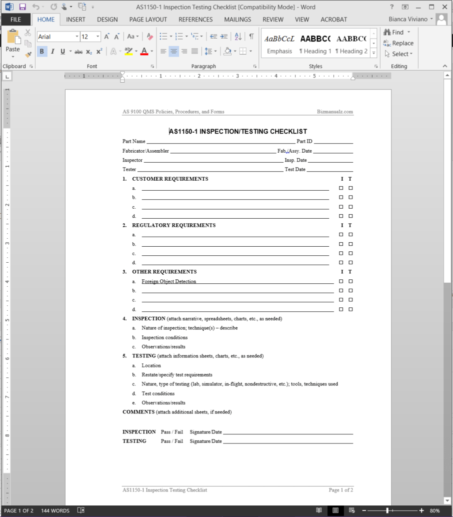 format for policy and procedure manual