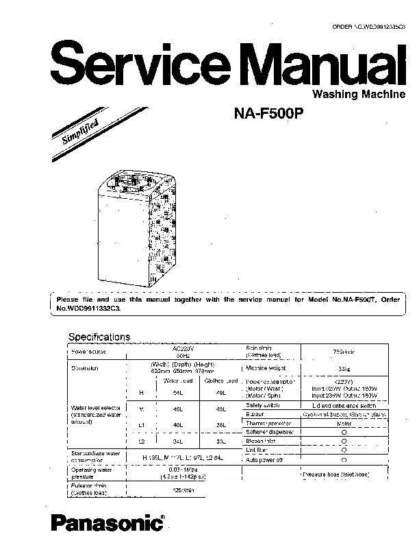 panasonic na 140vg3 service manual