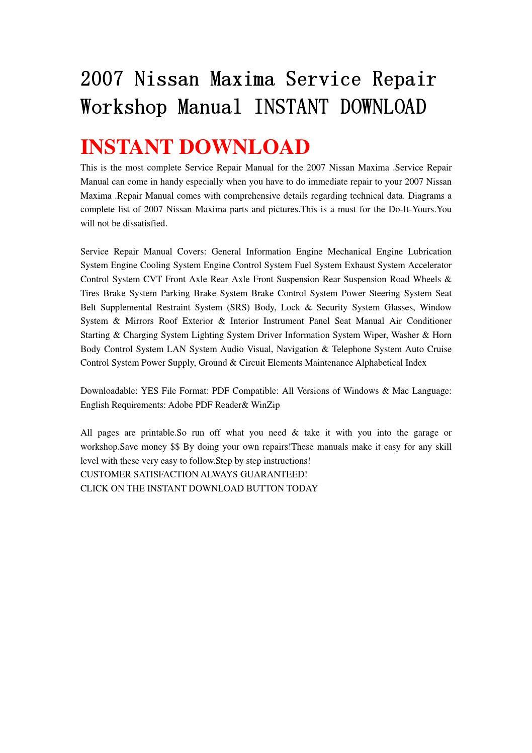 2007 nissan maxima repair manual