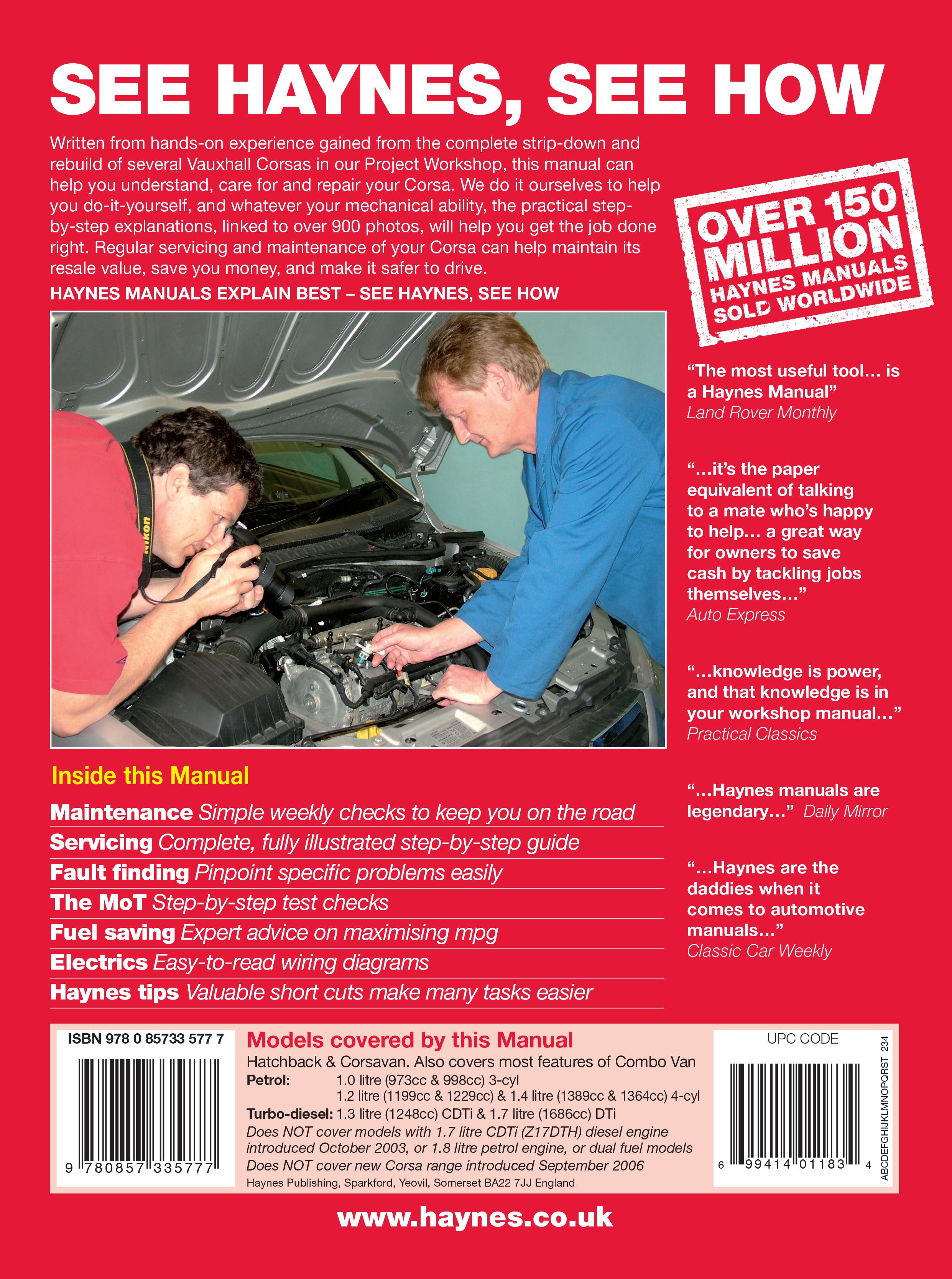 vauxhall corsa service manual pdf