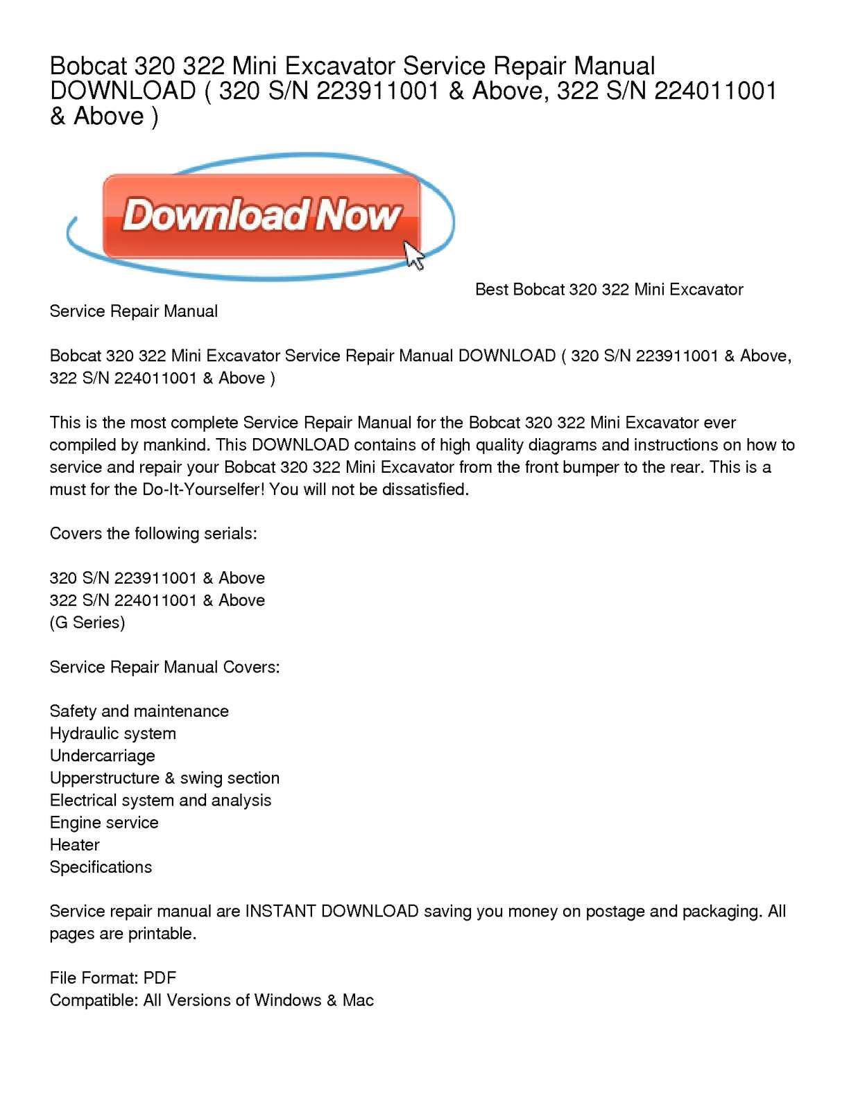 bobcat 320 mini excavator manual
