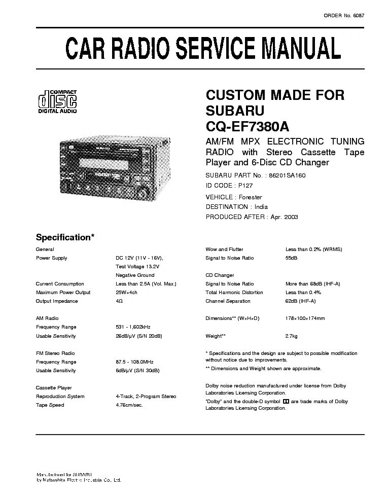 subaru forester workshop manual free download