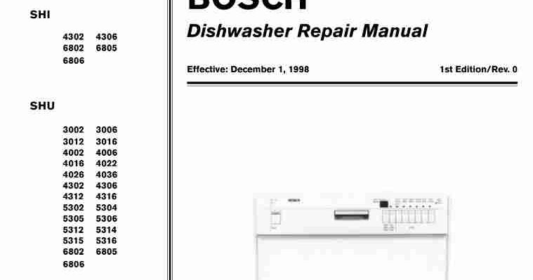 bosch dishwasher repair manual download free