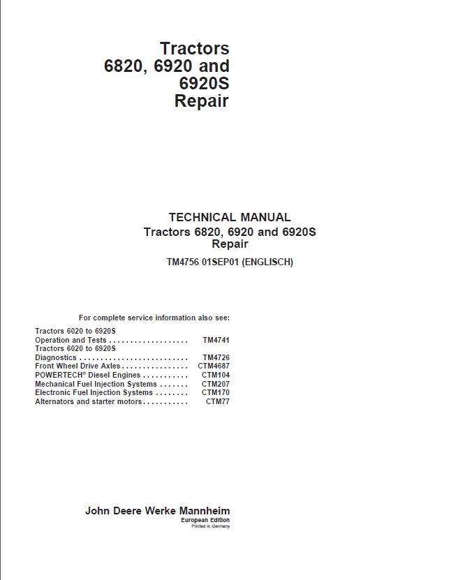 john deere 6920 workshop manual