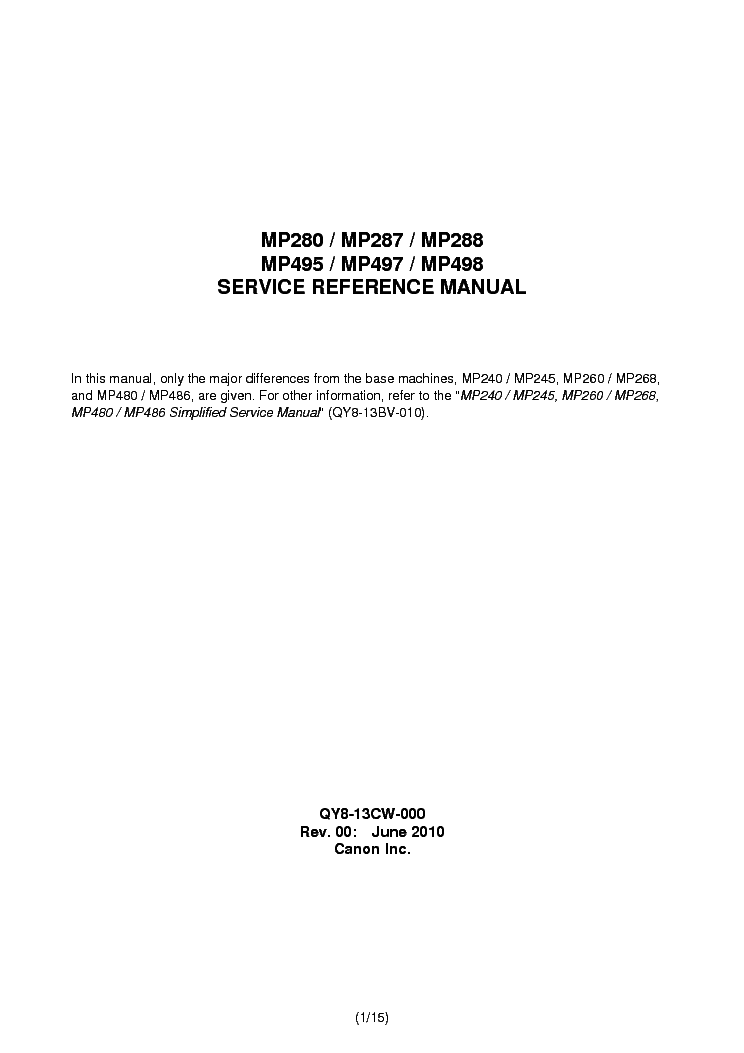 canon mp280 series printer manual