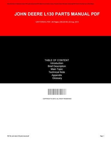 john deere l130 parts manual pdf