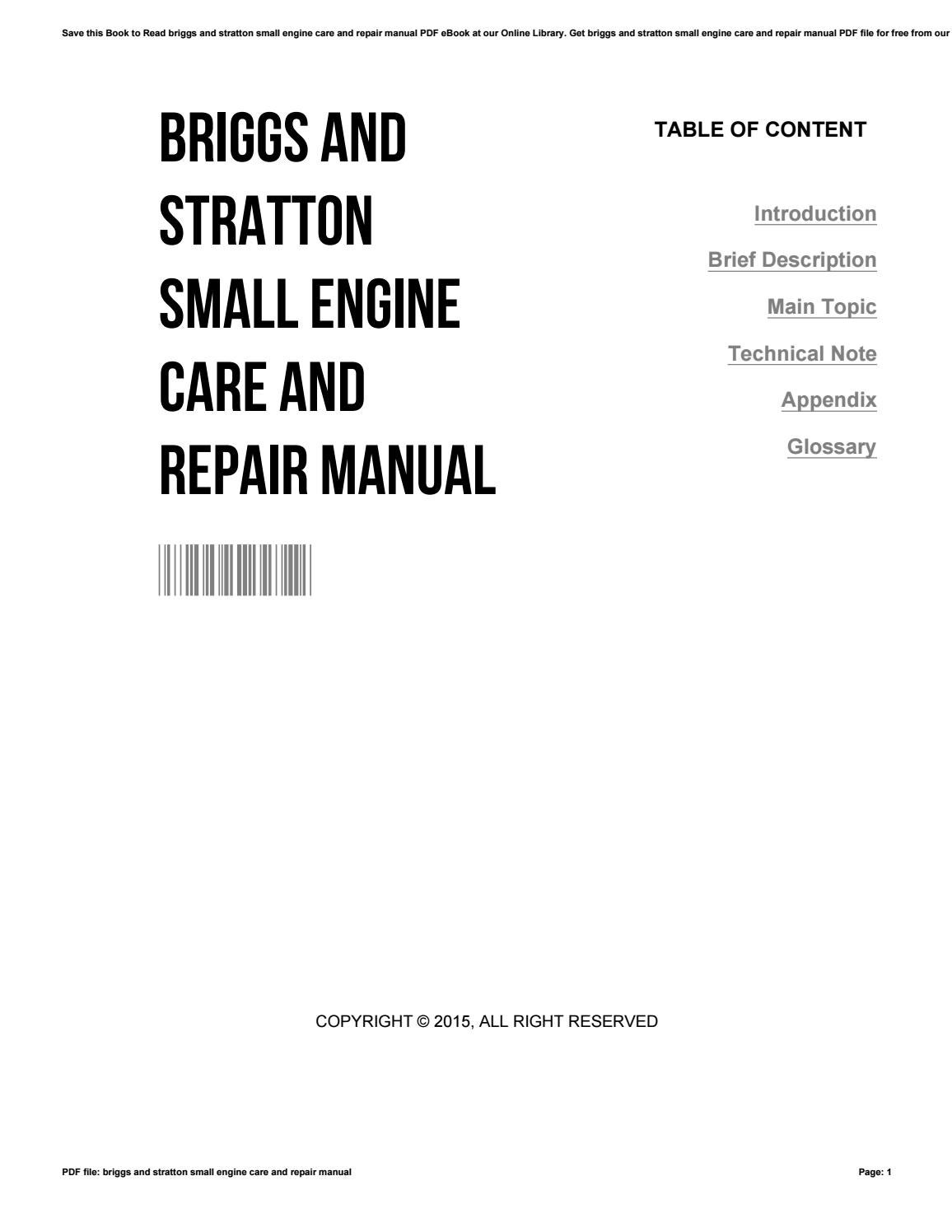 briggs and stratton repair manual pdf free