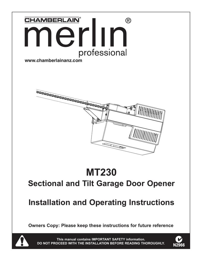 merlin prolift 230t installation manual
