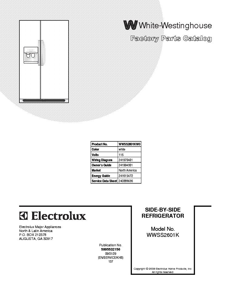 westinghouse virtuoso fridge service manual