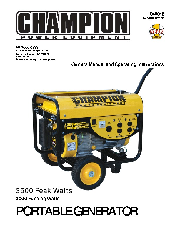champion 4000 watt generator manual