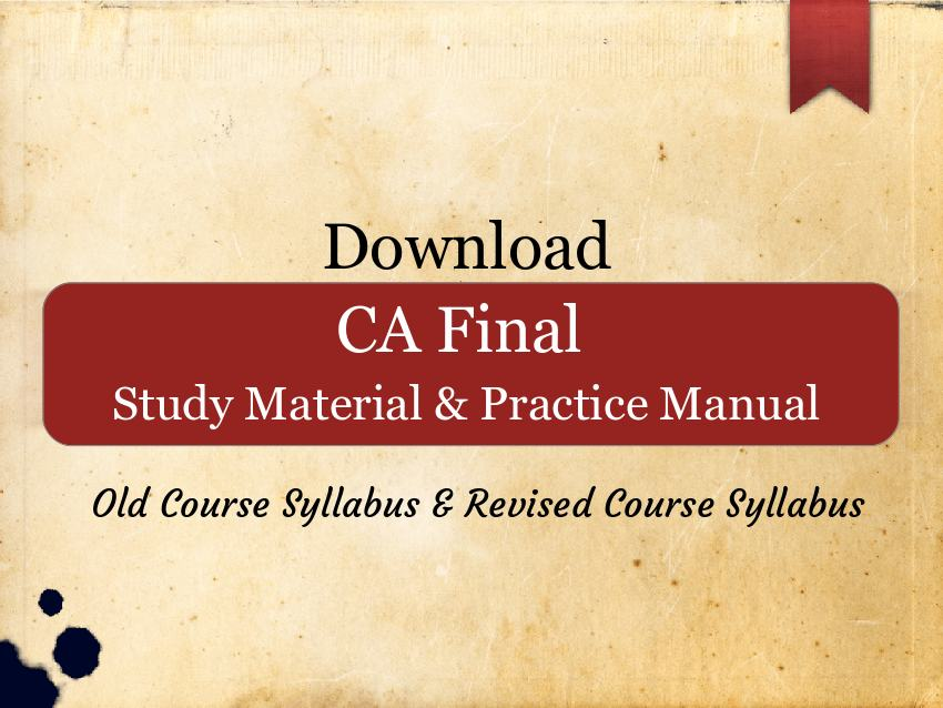 ca final practice manual for may 2018