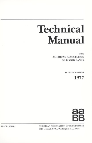 american association of blood banks technical manual