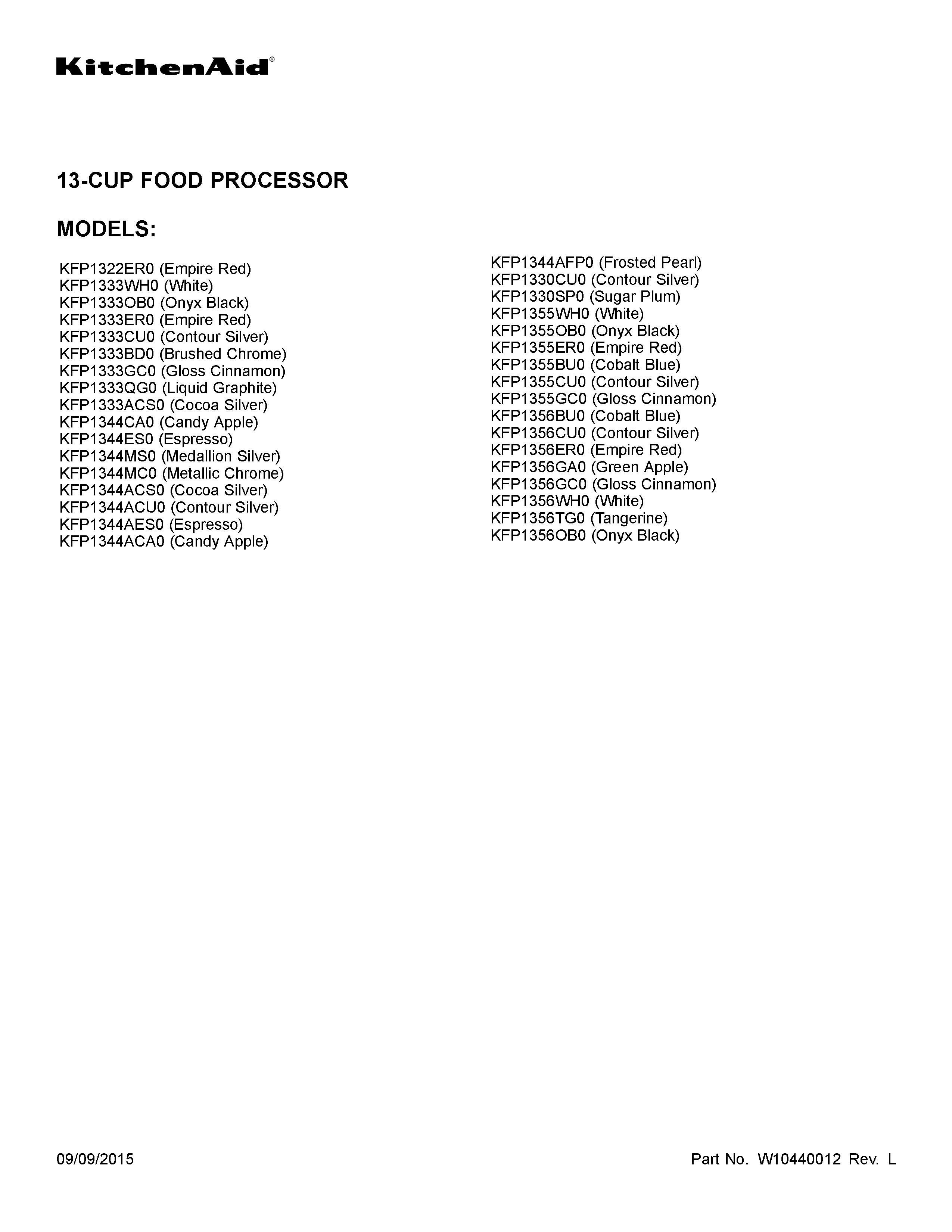 kitchenaid food processor attachment manual