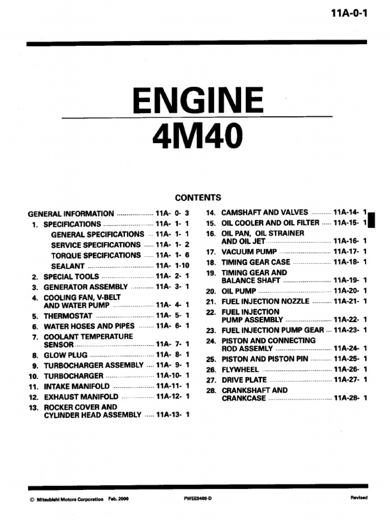 mitsubishi triton 1998 workshop manual