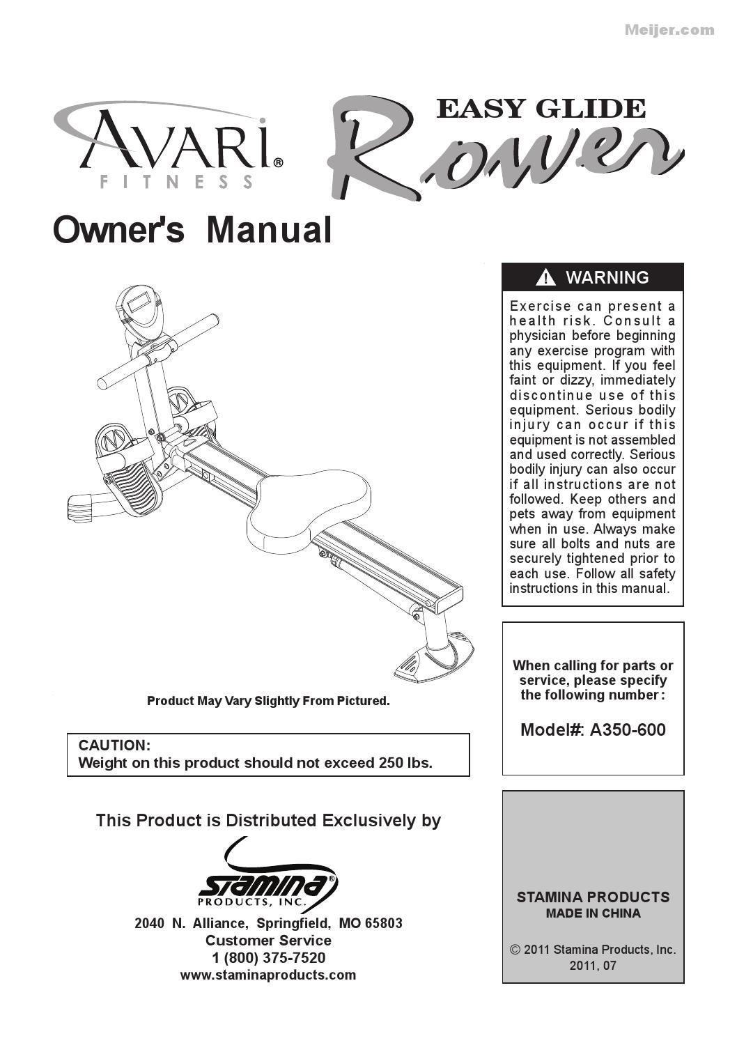 avari easy glide rower manual