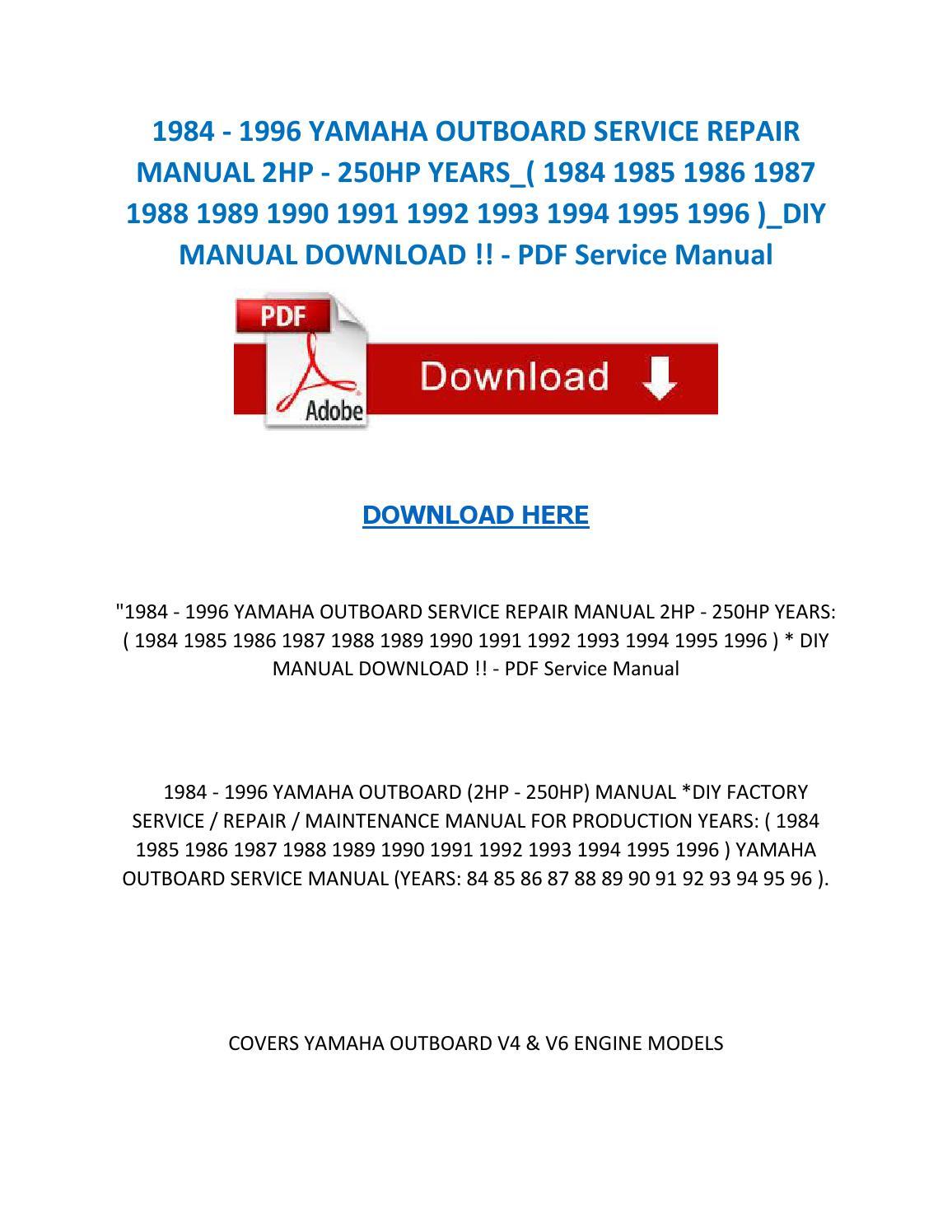 1989 yamaha outboard service manual