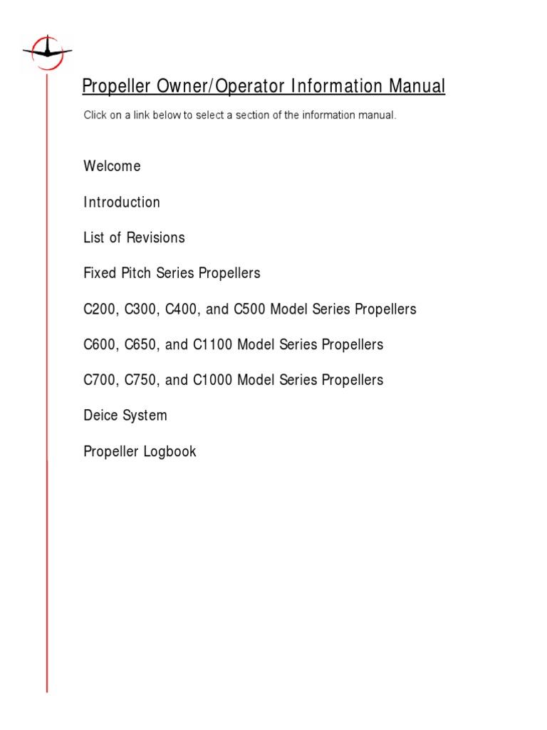 mccauley constant speed propeller manual