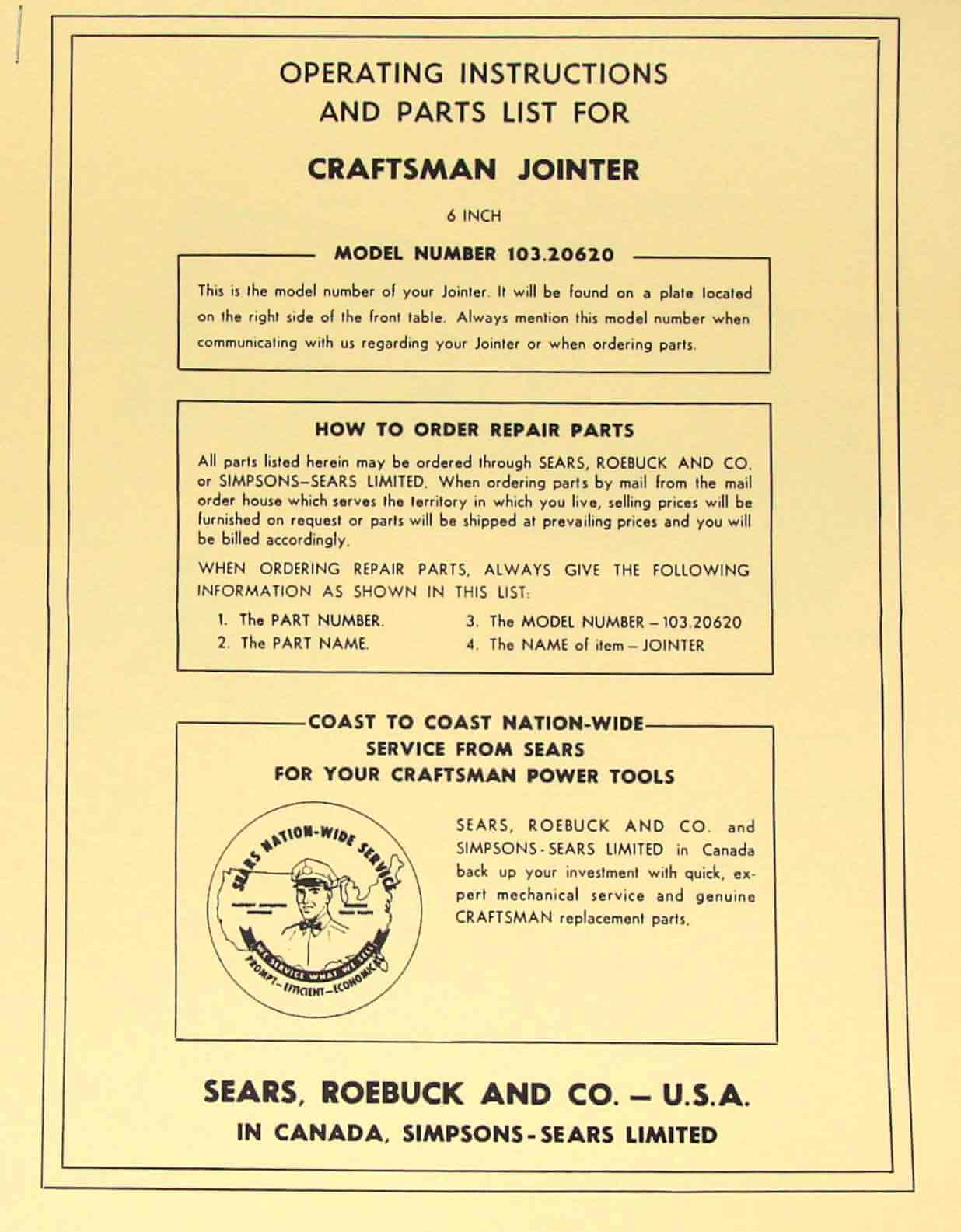 craftsman 6 1 8 jointer manual