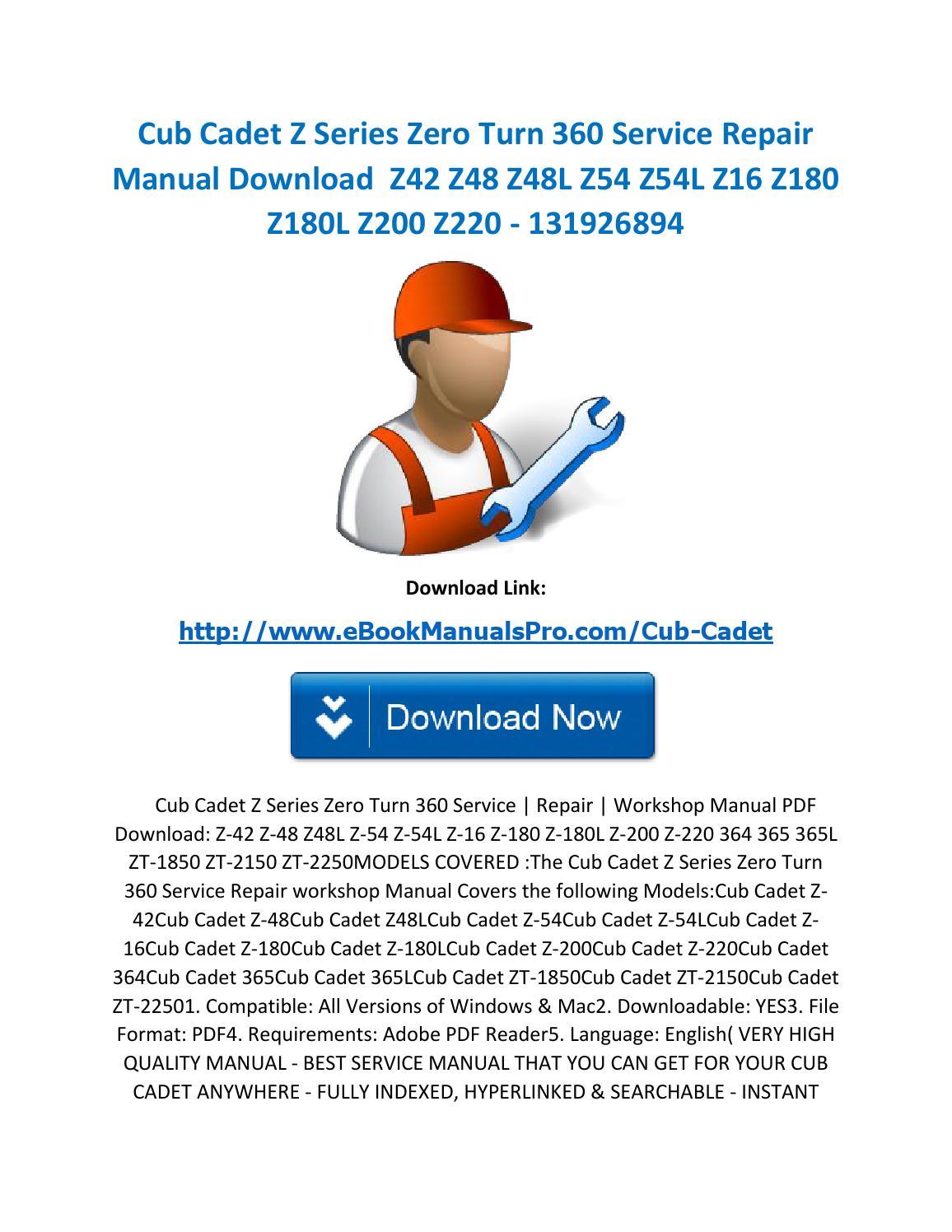 cub cadet lt1042 service manual download