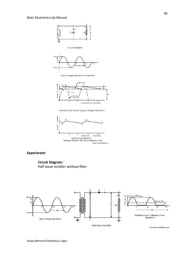 half wave rectifier experiment lab manual