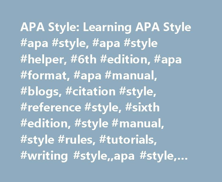 how to cite apa publication manual 6th edition
