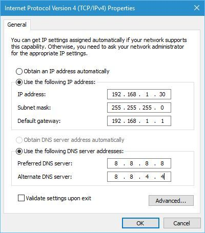 how to enter ip address manually