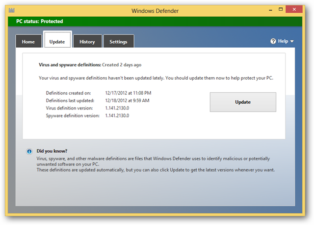 how to update windows defender manually