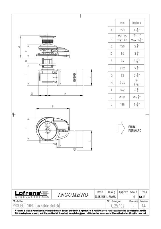 lofrans project 1000 windlass owners manual