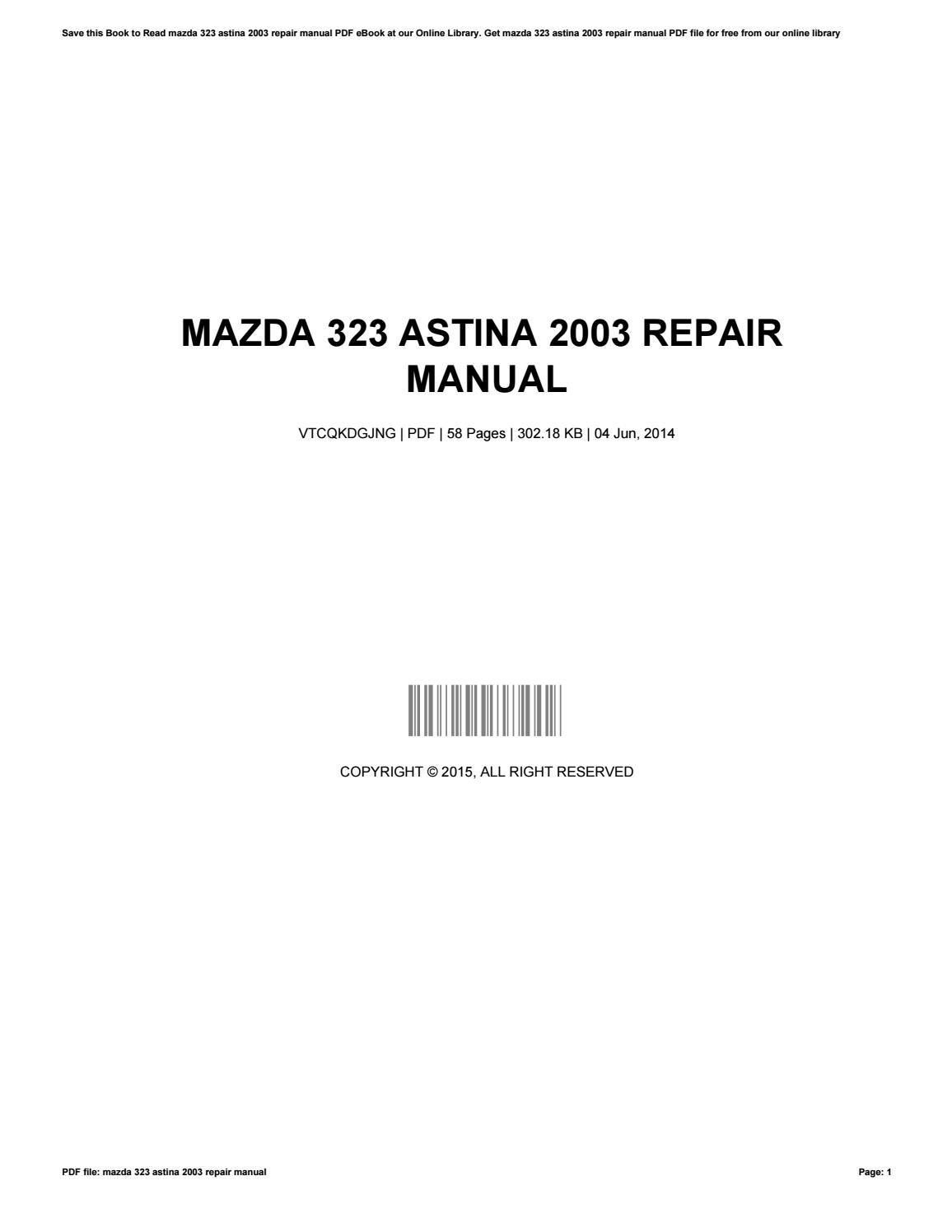 mazda 323 astina 2003 manual