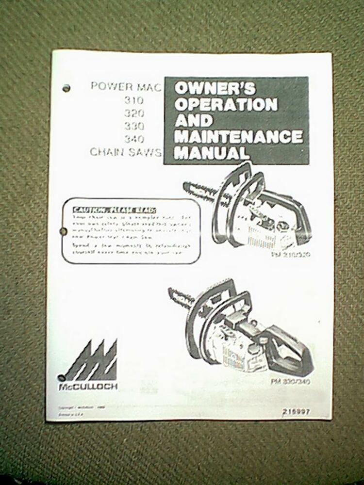 mcculloch power mac 310 user manual