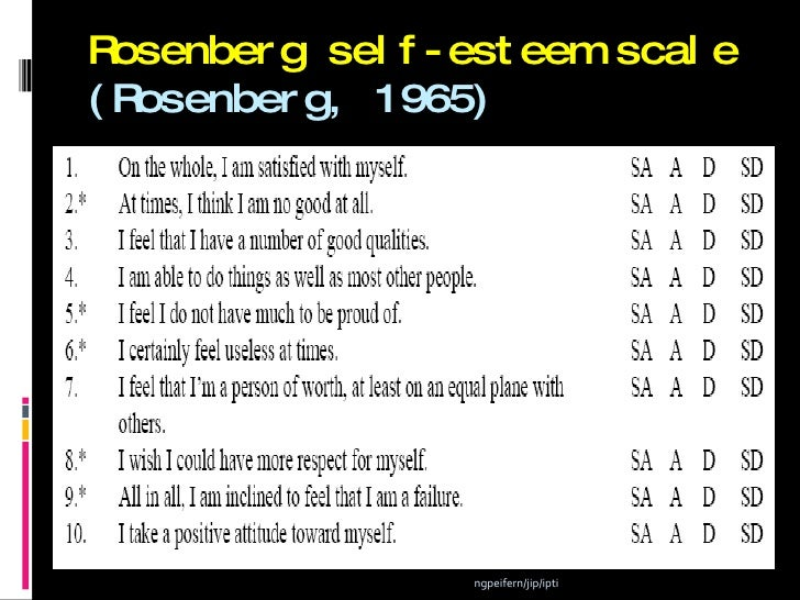 rosenberg self esteem scale manual