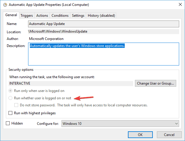 scheduled task runs manually but not automatically