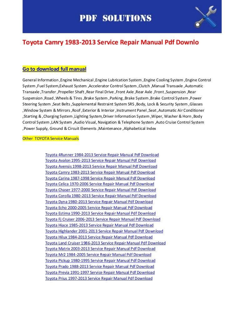 toyota camry 2004 service manual pdf