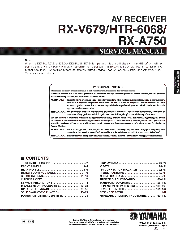 yamaha rx v679 owners manual